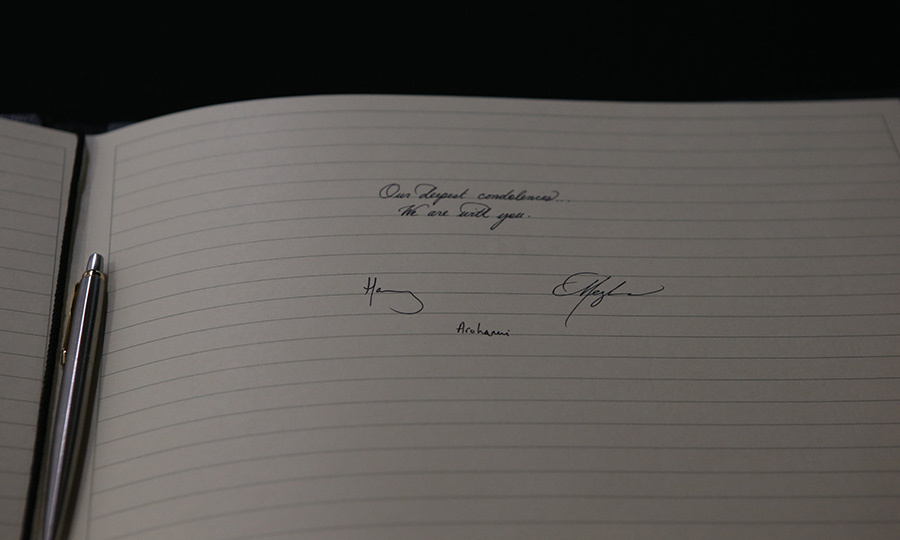 The couple also signed a book of condolences for the New Zealand victims. 