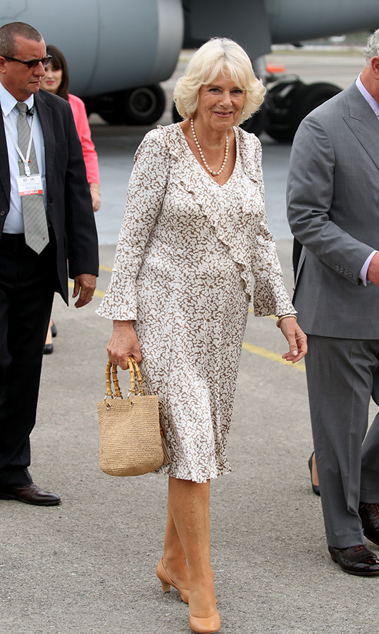 Camilla, as always, looked absolutely beautiful. She stunned in a patterned dress, accessorizing with a string of pearls, her chic handbag and beige heels. As always, the duchess's best accessory was her winning smile!