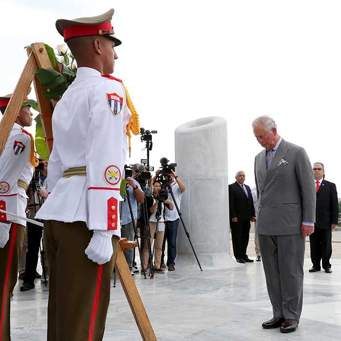 The future King bowed his head during the powerful wreath-laying ceremony.