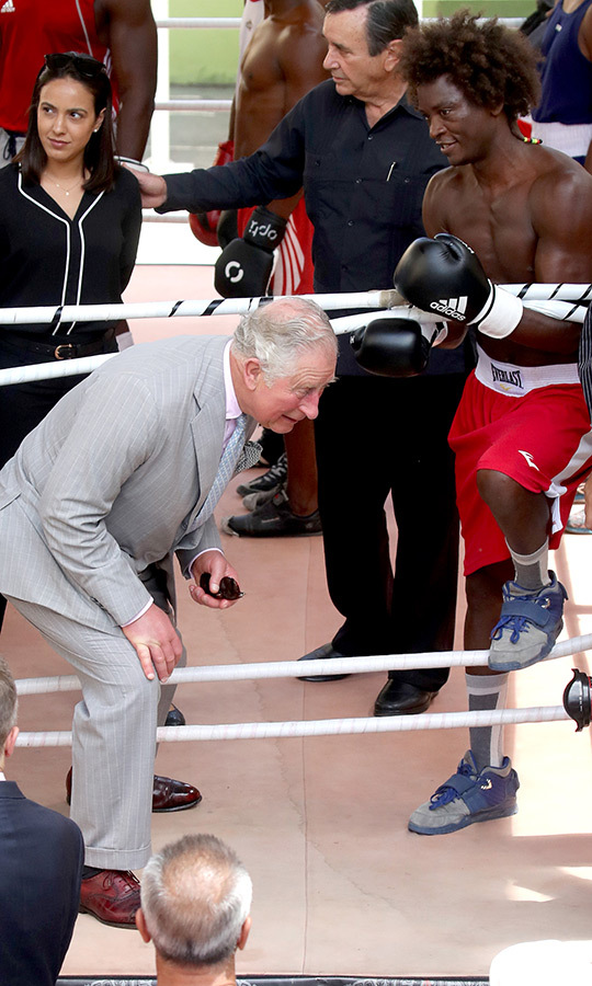 Ding ding ding! Charles also got the opportunity to visit a boxing gym during his time in Havana. The Prince of Wales watched a training session and met boxers and students at Rafael Trejo Boxing Gym - and he even got in the ring!