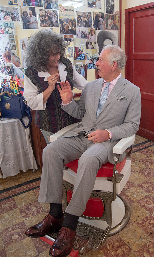 Charles also visited an old barber shop while touring Old Havana, though he does not appear to have had his hair trimmed! 