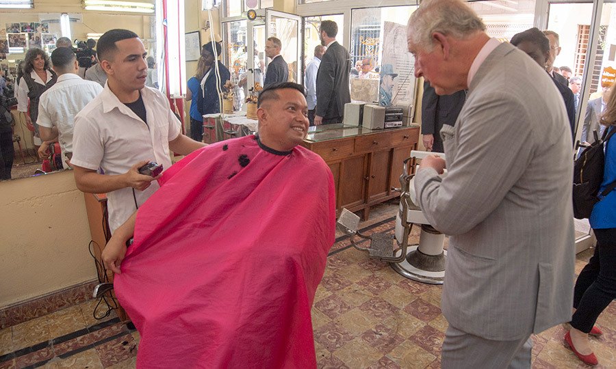 But Charles did take time to chat with those who were having their hair cut there!
