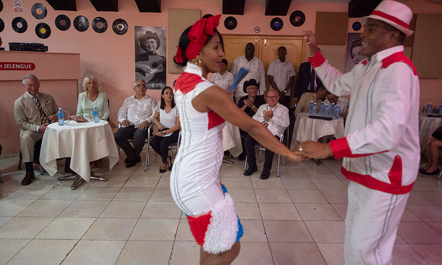 Charles and Camilla then were treated to an incredible dance performance at Areito EGREM Recording Studios in Havana.