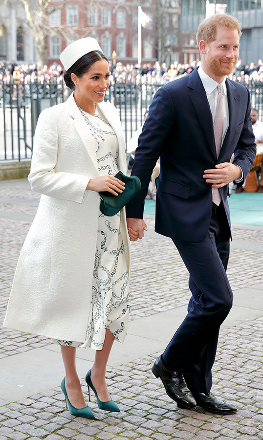 The Duke and Duchess of Sussex attended the 2019 Commonwealth Day service at Westminster Abbey on March 11. Meghan wore head-to-toe Victoria Beckham – her textured white coat, printed crepe dress, green pumps and a matching satin clutch. She also wore a diamond bracelet from Princess Diana's personal collection, as well as her Dean Davidson 'Midi Knockout' earrings.