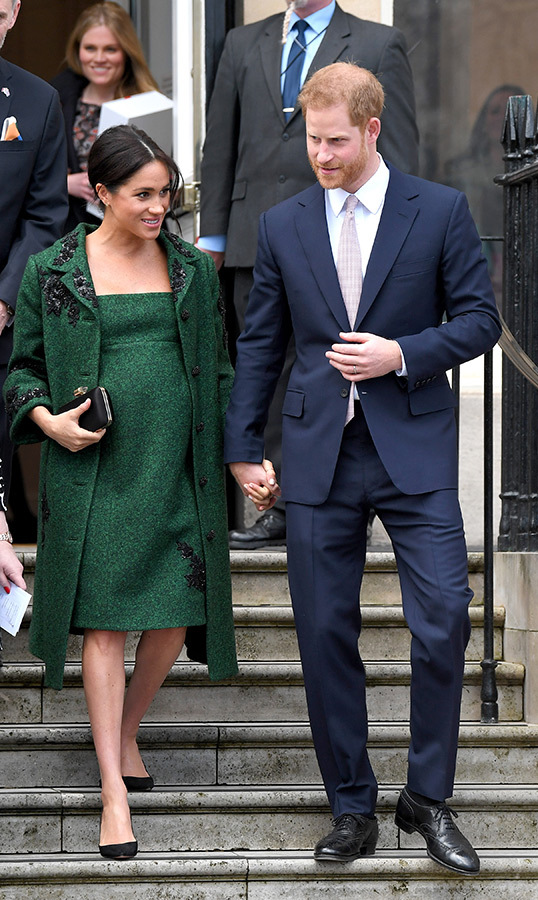 The morning of Commonwealth Day, Meghan and Harry stopped by Canada House for a walk down memory lane. For the occasion, the duchess dazzled in an Erdem emerald coat and matching dress and her Aquazzura Deneuve pumps. As for accessories, she chose her Kismet by Milka Dangle Disc bracelet and her Birks opal earrings, and carried a Givenchy jewel clutch.