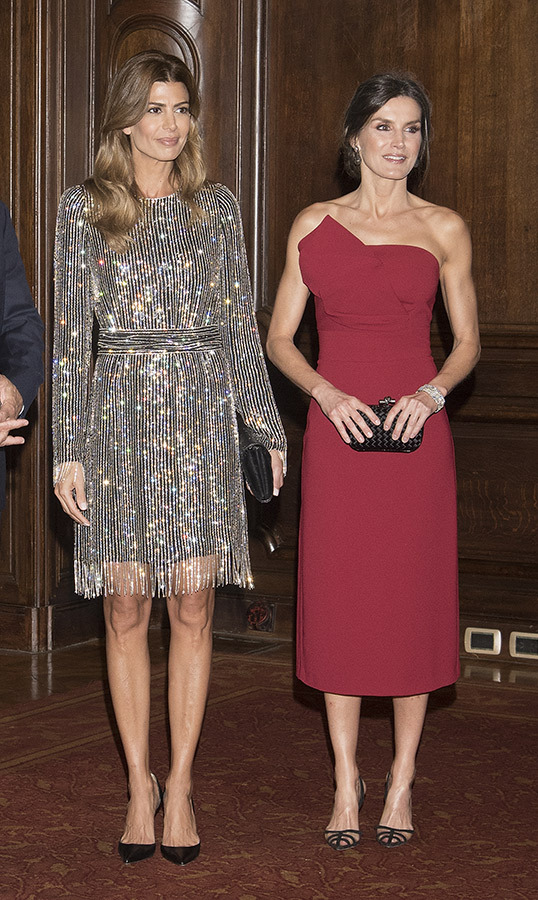 For their final evening in Argentina, Queen Letizia wowed in a red strapless Roberto Torretta dress from the label's Spring/Summer 2016 collection. She paired the number with her black Bottega VEneta 'Knot' clutch and her Manolo Blahnik 'Gotrianc' slingback 105 heels.