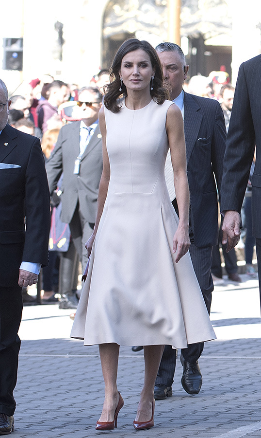 For a ceremony honouring Argentina's National Hero Jose de San Martin on March 25 in Buenos Aires, Queen Letizia wore a beautiful cream A-line dress, paired with red pointed toe pumps.