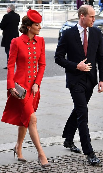 For Commonwealth Day, the Duchess of Cambridge wore her bright red Catherine Walker coat dress. She anchored the ensemble with her Emmy London 'Rebecca' suede heels, carrying a matching 'Natasha' clutch'. On top of her chic up do, she perched a matching red cap.