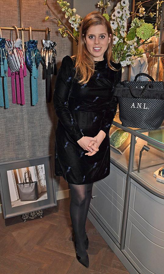 Princess Beatrice oozed cool while at the launch of the second collaboration between Misela & Alice Naylor-Leyland in London. She stunned in a black patterned dress by Maje, black sheer tights and a pair of matching pumps.