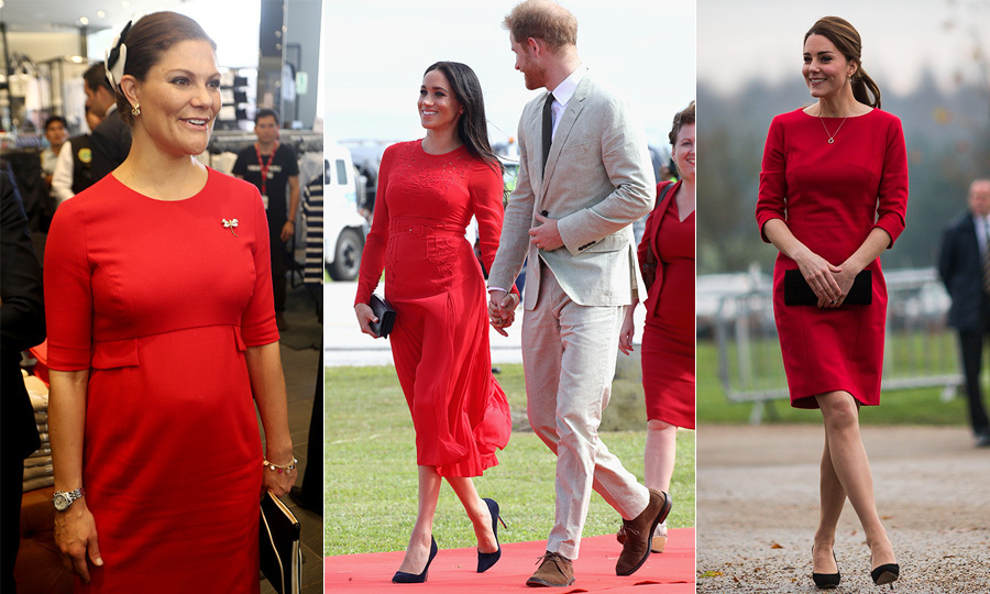 "These royal ladies were radiant in red during their pregnancies! All eyes were on the Duchess of Sussex when she arrived in the Tonga looking every inch a style star in her bold Self-Portrait dress. The number looked strikingly similar to the dresses <a href=""https://ca.hellomagazine.com/tags/0/princess-victoria""><strong>Crown Princess Victoria</strong></a> and <a href=""https://ca.hellomagazine.com/tags/0/kate-middleton""><strong>Duchess Kate</strong></a> wore, while pregnant with <a href=""https://ca.hellomagazine.com/tags/0/prince-oscar""><strong>Prince Oscar</strong></a> and <a href=""https://ca.hellomagazine.com/tags/0/princess-charlotte""><strong>Princess Charlotte</strong></a>, respectively. Clearly, red is their colour!