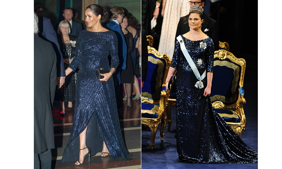 "Duchess Meghan and <a href=""https://ca.hellomagazine.com/tags/0/princess-victoria""><strong>Crown Princess Victoria</strong></a> of Sweden never shy away from a bit of glitter – and one of the dresses they wore while pregnant bore striking similarities! Prince Harry's wife opted for the <a href=""https://ca.hellomagazine.com/fashion/02019011649430/meghan-markle-roland-mouret-gown-cirque-du-soleil"">Roland Mouret 'Sarandon' gown</a>, while Victoria (pregnant with <a href=""https://ca.hellomagazine.com/tags/0/princess-estelle""><strong>Princess Estelle</strong></a>!) dazzled in a Pär Engsheden gown for the 2011 Nobel Peace Prize ceremony.