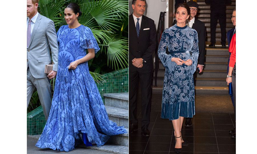 "The Duchesses of Sussex and Cambridge have very different styles, but they sometimes surprise us with similar outfits. For her last evening <a href=""https://ca.hellomagazine.com/royalty/02019022349995/prince-harry-meghan-markle-morocco-royal-tour-photos/1"">in Morocco</a> with Prince Harry, Meghan dazzled in blue floral Carolina Herrera – a gown that perhaps took inspiration from Duchess Kate's blue velvet Erdem number she wore in Stockholm while carrying <a href=""https://ca.hellomagazine.com/tags/0/prince-louis""><strong>Prince Louis</strong></a>.