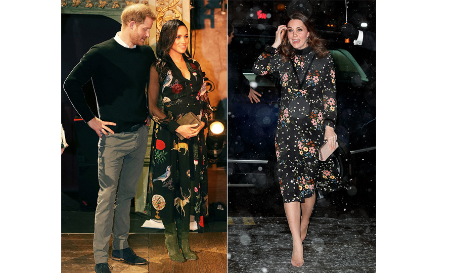"During a visit to one of her royal patronages, The National Portrait Gallery, the Duchess of Cambridge (pregnant with Prince Louis) dazzled in <a href=""https://ca.hellomagazine.com/fashion/02018022843219/kate-middleton-orla-kiely-national-portrait-gallery"">a floral dress by Irish designer Orla Kiely</a>. Almost exactly a year later, Duchess Meghan wore a similarly patterned dress by Oscar de la Renta for <a href=""https://ca.hellomagazine.com/royalty/02019020149676/prince-harry-meghan-markle-bristol-photos"">a trip to Bristol</a>.