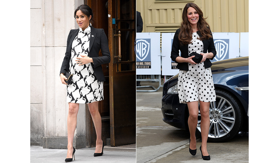 "Black, white and royal all over! For her <a href=""https://ca.hellomagazine.com/royalty/02019030850256/watch-full-meghan-markle-international-womens-day-panel"">International Women's Day panel</a>, Duchess Meghan <a href=""https://ca.hellomagazine.com/fashion/02019030850241/meghan-markle-mini-dress-international-womens-day"">wore the perfect black-and-white outfit</a> (a REISS and Alexander McQueen blazer). It's a look that brought to mind one of Duchess Kate's more playful ensembles – a Topshop polka-dot dress and a black blazer. At the time, Kate was pregnant with little <a href=""https://ca.hellomagazine.com/tags/0/prince-george""><strong>Prince George</strong></a>.