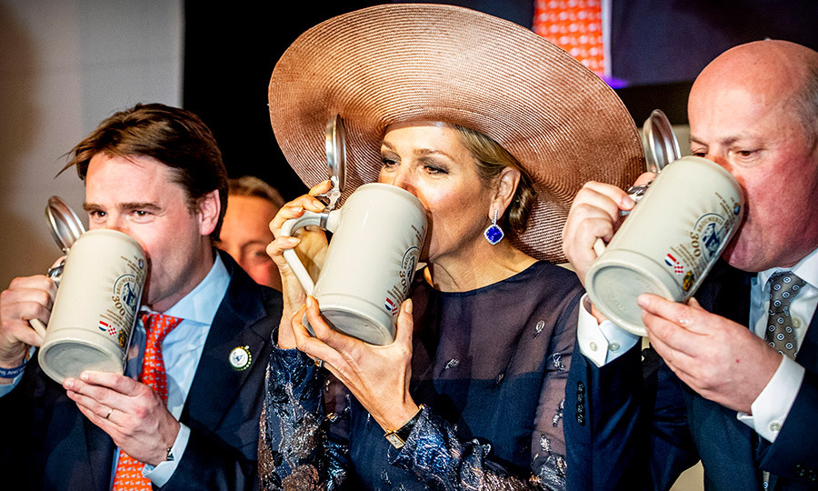 Cheers to Queen Máxima! In celebration of the 300th anniversary of beer brewery Baravia, the Netherlands queen enjoyed a sip of beer.