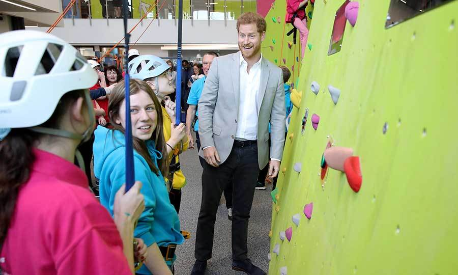 "The prince also toured the facility's awesome rock climbing wall, and probably got some ideas about how to spend time with <a href=""https://ca.hellomagazine.com/royal-baby""><strong>Baby Sussex</a></strong> when they're older! 