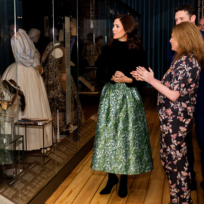 "<a href=""https://ca.hellomagazine.com/tags/0/crown-princess-mary""><strong>Crown Princess Mary</a></strong> of Denmark attended the opening ceremony of <em>Fashioned From Nature</em> at the Danish Natural History Museum on April 12, looking every inch a style star. The royal dazzled in an emerald green satin skirt, paired with a black turtleneck and matching boots. She appeared to be wearing brightly coloured earrings, too.