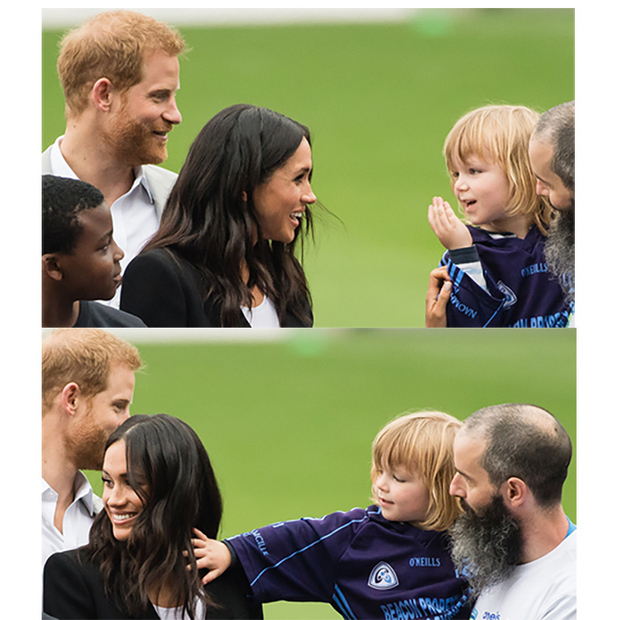 Kids do the darnedest things! The cutest moment happened between a cheeky little boy and Meghan while the Duke and Duchess of Sussex were on day two of their royal tour in Ireland in July 2018. Three-year-old Walter Cullen reached out to tug Meghan's hair – and Prince Harry's reaction was priceless.