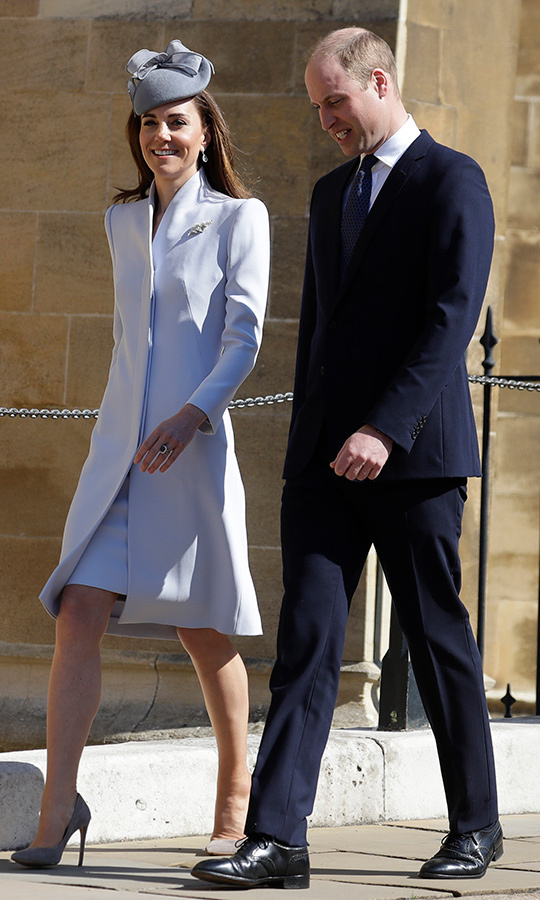Duchess Kate and Prince William arrived with their best smiles. Kate looked gorgeous in a light blue coat with matching pumps and a similarly coloured dress. She sported a gray fascinator for her hat. Prince William looked dapper as always in a very trim suit.