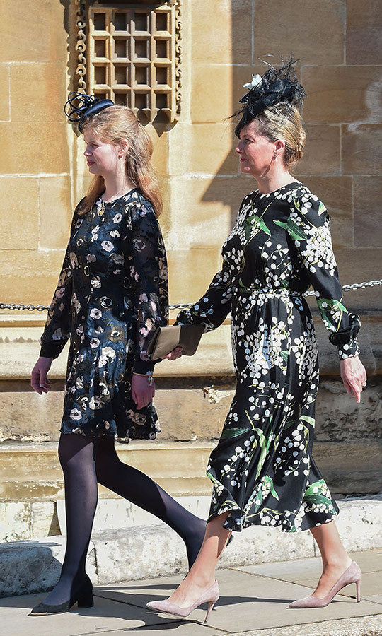 Lady Louise Windsor and her mother Sophie, the Countess of Wessex, coordinated in their very best floral print dresses. 