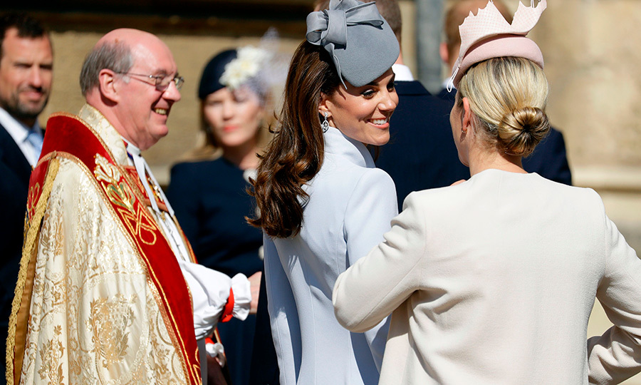 Kate and Zara looked like the best of friends as they greeted each other before heading into the service.