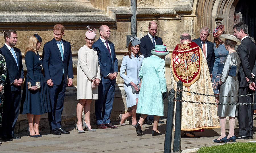 The Royal Family lined up to greet the Queen outside the chapel before heading in.