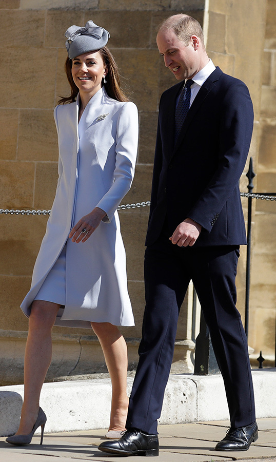 "<a href=""https://ca.hellomagazine.com/tags/0/kate-middleton""><strong>Duchess Kate</a></strong> was the picture of spring as she joined the Royal Family at Easter Mattins service at St. George's Chapel, Windsor Castle on April 21. The Duchess of Cambridge arrived with <a href=""https://ca.hellomagazine.com/tags/0/prince-william""><strong>Prince William</a></strong>, wearing a baby blue coat with a matching dress underneath. She accessorized with a grey Jane Taylor fascinator, Robinson Pelham earrings, and nude Emmy London heels.