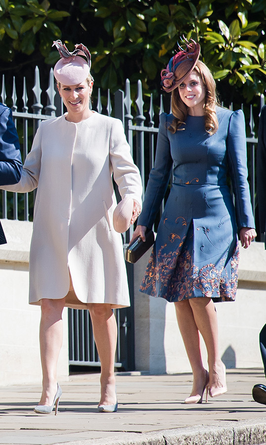"<a href=""https://ca.hellomagazine.com/tags/0/zara-tindall""><Strong>Zara Tindall</a></strong> and <a href=""https://ca.hellomagazine.com/tags/0/princess-beatrice""><strong>Princess Beatrice</a></strong> looked beautiful as ever arriving for the Easter service. The mother-to-two, walking arm in arm with husband <a href=""https://ca.hellomagazine.com/tags/0/mike-tindall""><strong>Mike Tindall</a></strong>, stunned in a pale pink coat and matching fascinator, anchoring the ensemble with grey pumps.