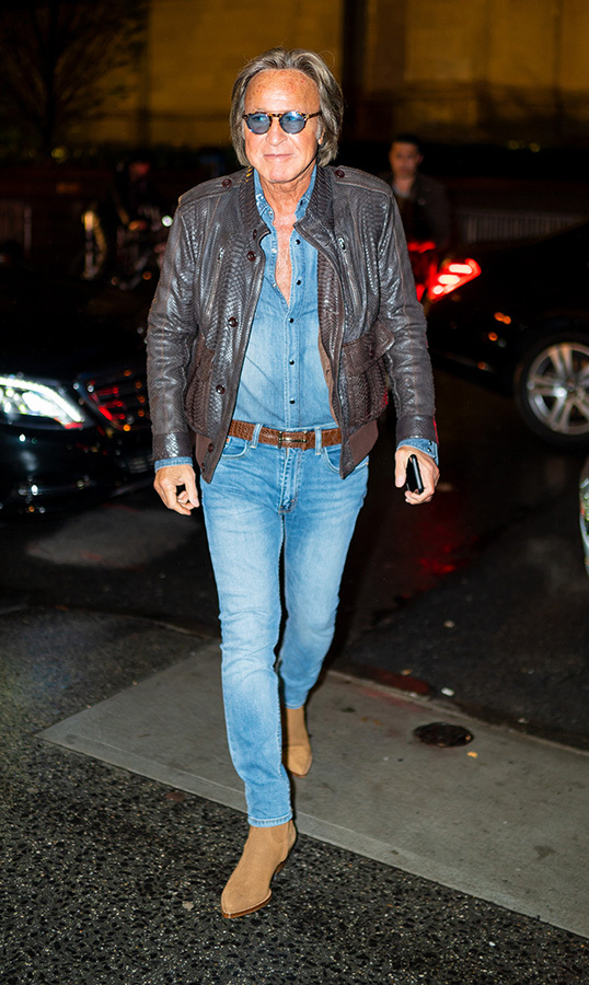 <strong>Mohamed Hadid</strong>, the girls' father, was on hand to ring in Gigi's birthday. He wore head-to-toe denim, paired with a brown leather jacket and light brown boots.