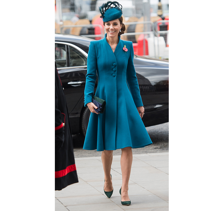 "The <a href=""https://ca.hellomagazine.com/tags/0/kate-middleton""><strong>Duchess of Cambridge</a></strong> stepped out on April 25 for the Anzac Day of Service of Commemoration and Thanksgiving at London's Westminster Abbey, looking her usual fabulous self. She chose a teal Catherine Walker dress coat for the occasion, which she paired with a matching feather-adorned Rosie Olivia fascinator. She wore her hair up for the event, sported Kiki McDonough earrings and chose green heels for her feet.