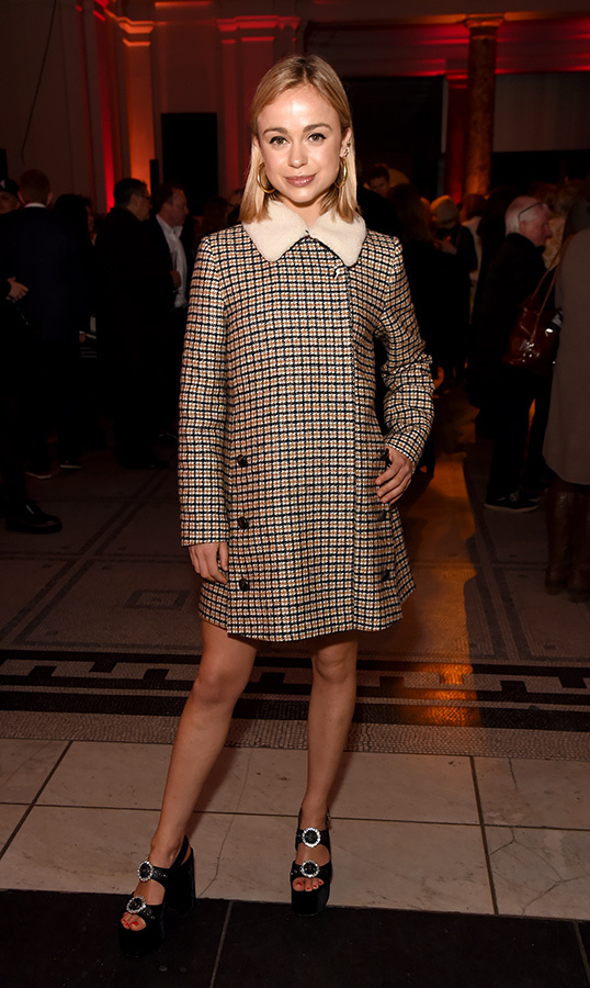 Lady Amelia Windsor wore a mod checked brown dress and platform sandals for the Mary Quant VIP preview at The V&A on April 3.