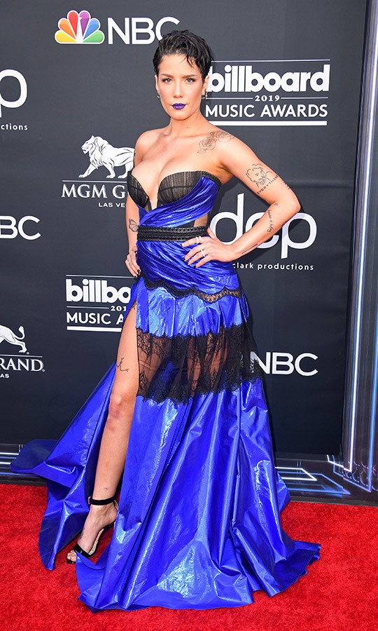 "<A HREF=""https://ca.hellomagazine.com/tags/0/halsey""><strong>Halsey</a></strong> married shimmery fabrics with edgy black lace for her look, which was the epitome of punk-glam. 