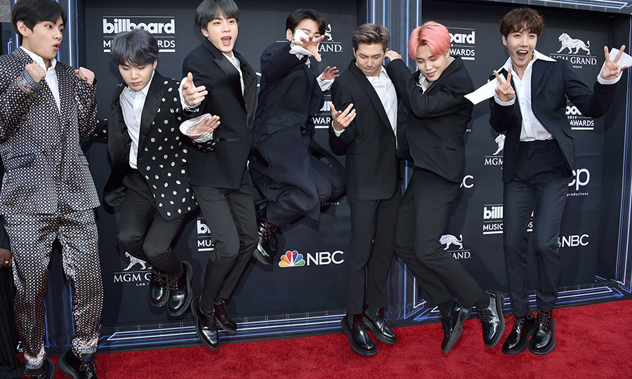 South Korea's <strong>BTS</strong> looked incredibly dapper, and showed off their best jumps on the red carpet.