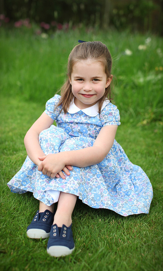 "Happy Birthday, <a href=""/tags/0/princess-charlotte""><strong>Princess Charlotte</a></strong>! The Princess of Cambridge turned four on May 2, and Kensington Palace released three sweet new portraits of the little girl, which were taken by her mother, <a href=""/tags/0/kate-middleton""><strong>Duchess Kate</a></strong>. Charlotte looks confident and happy in this one, which shows her wearing a floral dress and canvas shoes at Kensington Palace.