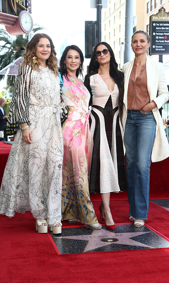 "Charlie's Angels <a href=""/tags/0/drew-barrymore""><strong>Drew Barrymore</a></strong>, <a href=""/tags/0/demi-moore""><strong>Demi Moore</a></strong> and <a href=""/tags/0/cameron-diaz""><strong>Cameron Diaz</a></strong> reunited on the Hollywood Walk of Fame to support their fellow angel, Lucy Liu, on May 1.