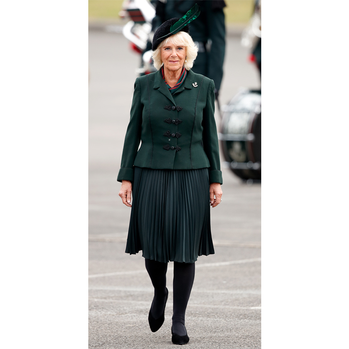 On May 1, <strong>Duchess Camilla</strong> stunned in an emerald green ensemble fit with a beautiful blazer, pleated skirt and a matching hat for a Rifles Medals Parade at Normandy Barracks.
