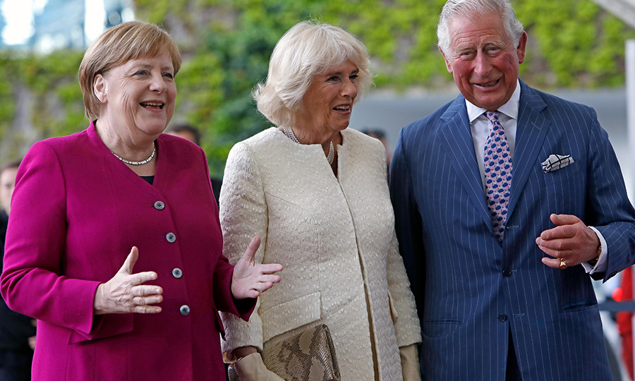 German Chancellor <strong>Angela Merkel</strong> welcomed the Duchess of Cornwall and Prince Charles at the Chancellery in Berlin.