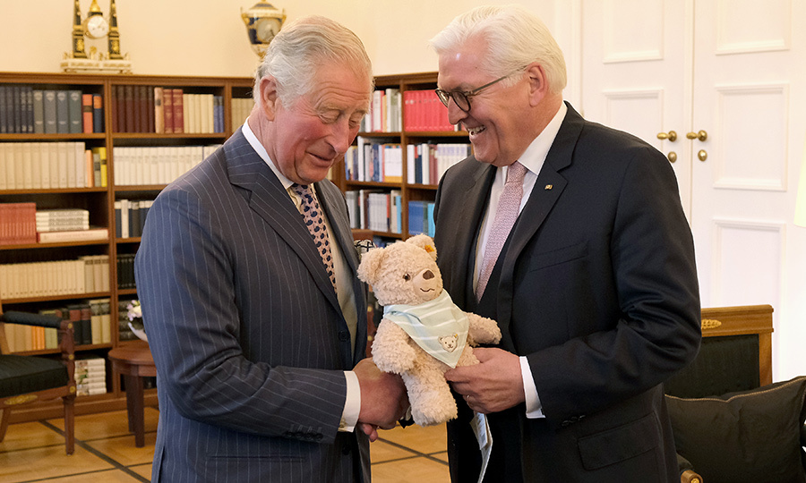 Frank-Walter presented Charles with an adorable little teddy bear – likely to give to his newest grandson, Harry and Meghan's first child, who was born on May 6.