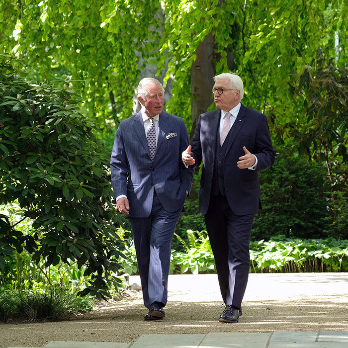 Charles and Frank-Walter took a walk through the gardens at Castle Bellevue.