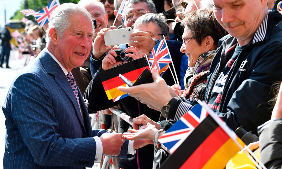 Charles took time to greet his gaggles of well-wishers.