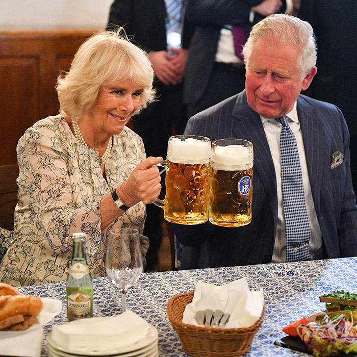 Prost! Prince Charles and Camilla, Duchess of Cornwall, clinked beer glasses during their visit to Munich's oldest beerhall.