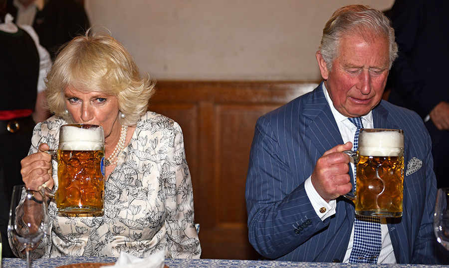 Just a sip! The royal couple enjoyed a spot of beer.