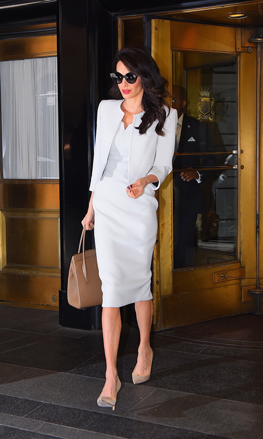 Amal was spotted in New York on April 24, wearing a Zac Posen sheath dress, which she paired with a Zac Posen jacket, Givenchy sunglasses, Jimmy Choo Imogen pumps and a Michael Kors Bancroft tote.
