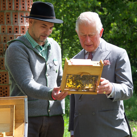 The 70-year-old was shown a beehive during his visit to the organic farm.