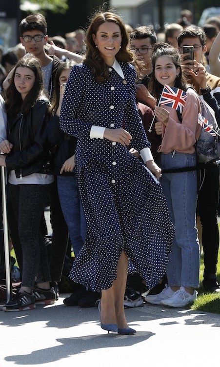The <strong>Duchess of Cambridge</strong> put her best fashion foot forward for a visit to Bletchley Park on May 14. The mom of three looked pretty in a recycled navy blue polkadot dress by Alessandra Rich while at a viewing of a special D-Day exhibit.