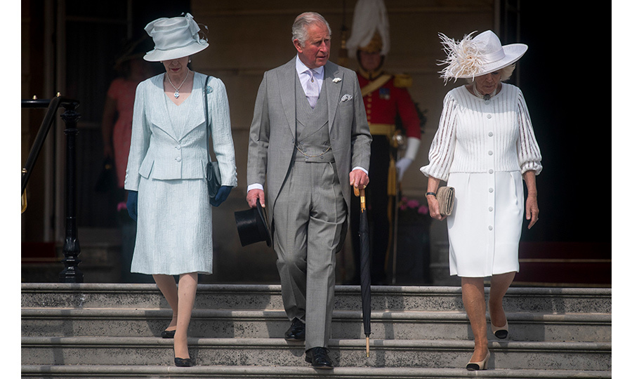 The Prince of Wales, Camilla and Princess Anne descended on the palace grounds, each wearing the perfect outfit for a spring garden party. 