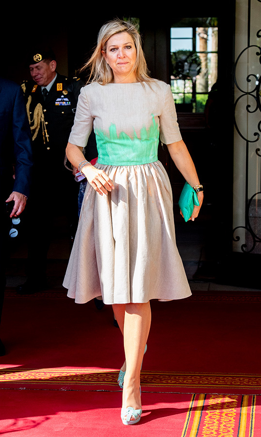 Queen Máxima dazzled in a grey-and-green dress, paired with powder blue heels while visiting Ethiopia. 