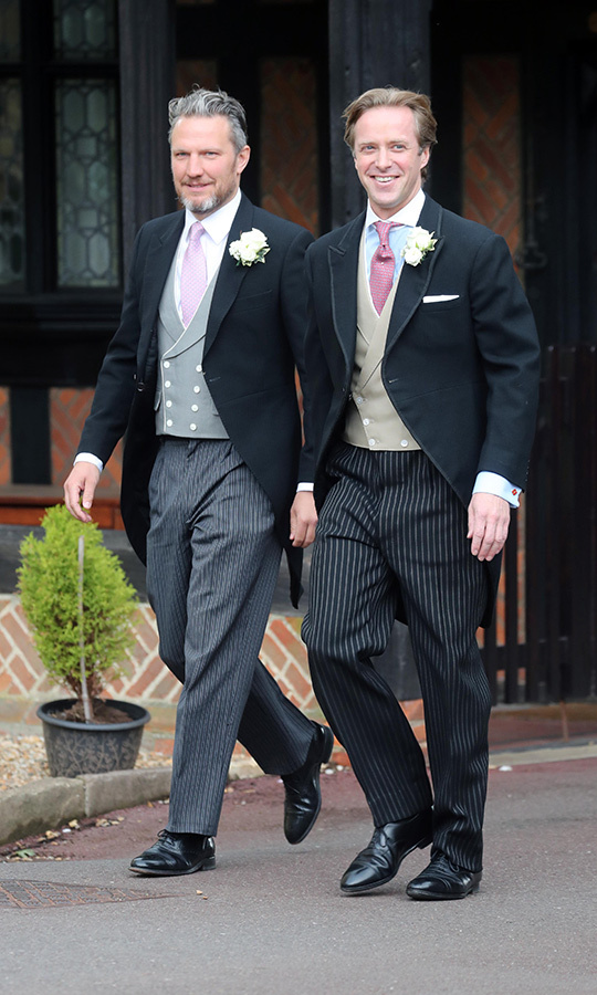"Groom <strong><a href=""/tags/0/thomas-kingston"">Thomas Kingston</a></strong> (right) was all smiles as he arrived at the chapel.