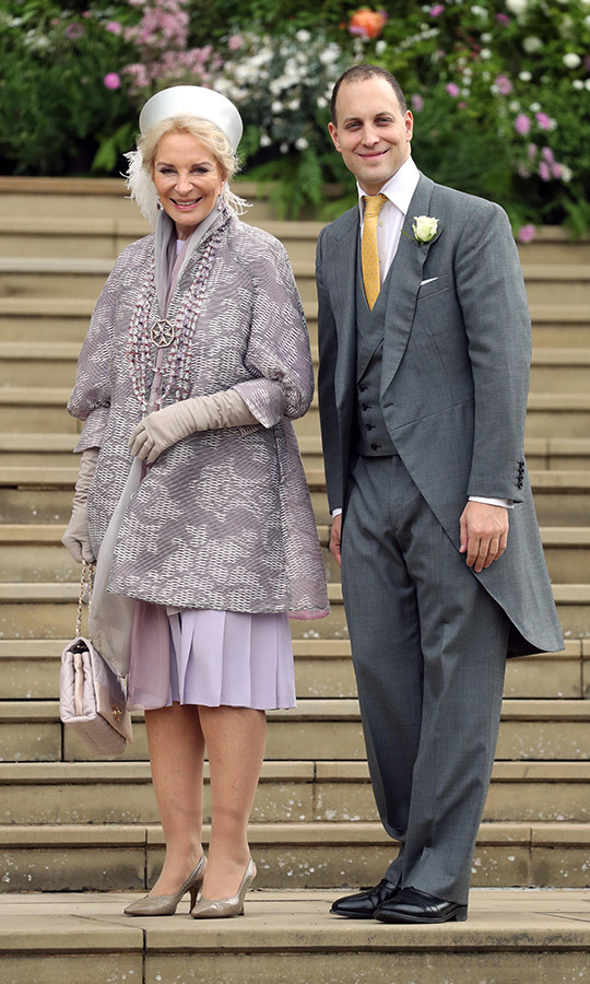 "Mother of the bride <a href=""/tags/0/princess-michael""><strong>Princess Michael</a></strong> of Kent and the bride's brother <strong><a href=""/tags/0/lord-frederick-windsor"">Lord Frederick Windsor</a></strong> looked thrilled on the steps of St. George's Chapel."