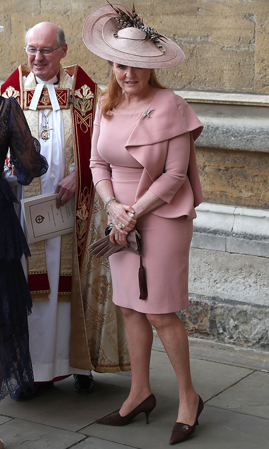 "<a href=""/tags/0/sarah-ferguson""><strong>Sarah Ferguson</a></strong>, who attended with <strong><a href=""/tags/0/Prince-Andrew"">Prince Andrew</a></strong>, chose a pink dress and matching hat for her wedding look.